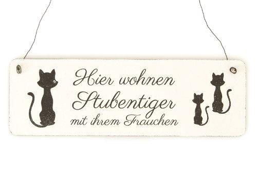 Shabby Vintage Schild Türschild HIER WOHNEN STUBENTIGER mit IHREM FRAUCHEN Katze Holzschild Geschenkidee Kater