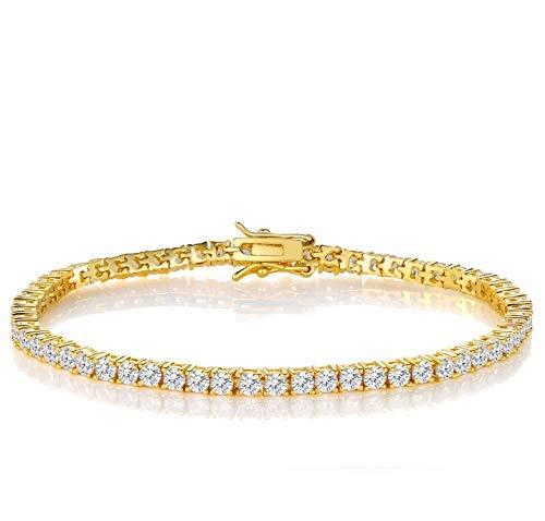 Armband Frauen Damen 3mm Zirkonia Tennis Armbänder Goldete Herren Geschenke für Mama Freundin 19cm - Frauen Diamant-gold-armbänder Für