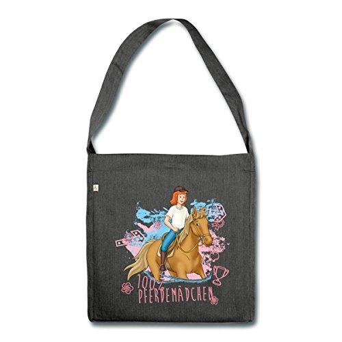 Material Handtaschen (Spreadshirt Bibi Und Tina Pferdemädchen Tina Reitet Auf Amadeus Schultertasche aus Recycling-Material, Schwarz meliert)