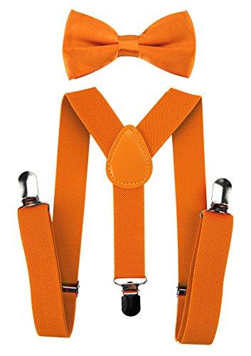 axy Hochwertige Kinder Hosenträger-Y Form mit Fliege- 3 Clips EXTRA STARK-Uni Farben (Orange)