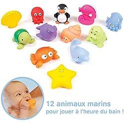 LUDI - 12 animaux marins en plastique pour jouer dans le bain. Dès 6 mois. Animaux arroseurs rigolos. Sac de rangement inclus. Jouet à emmener à la plage - Aspergeurs 12 mers - réf. 2174