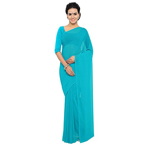 Jamkudi International's Georgette Saree With Blouse Piece(ethnic_ offer_skyblue_free size)