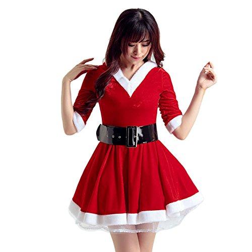 LAEMILIA Damen Kleid Weihnachten Party Miss Santa Kostüm Weihnachtskleider Weihnachtsfrau (Für Damen Weihnachten Kostüme)