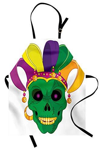 ABAKUHAUS Mardi Gras Kochschürze, Furchtsame schauende grüne Schädel-Maske mit Karnevals-Hut-Perlen und Ohrring-Karikatur-Art, Farbfest Höhenverstellbar Waschbar Klarer Digitaldruck, Mehrfarbig