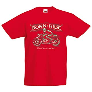 Kinder T-Shirt Born to Ride, Forced to Work - Saying Shirts for Motorcyclists (7-8 Years Rot Mehrfarben)