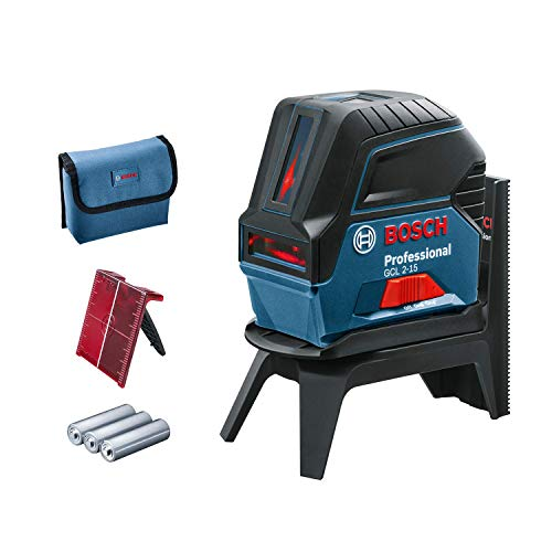 Bosch Professional Laser points/lignes GCL 2-15 (3 piles 1.5 V LR6 (AA), Laser Rouge, Portée 15 m, Housse de protection)