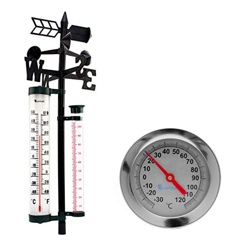 Lantelme 7270 Edelstahl Komposthermometer und Kombi Analog Regenmesser, Windmesser und Thermometer Set