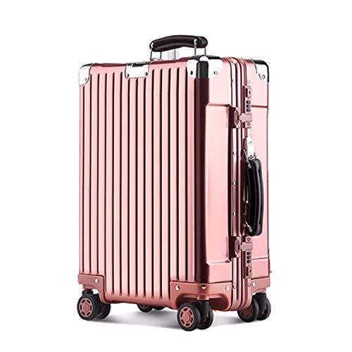 XIEPEI 2019 Neue alle Aluminium Magnesiumlegierung Trolley aus Reiner Aluminiumlegierung Box Vollmetall Koffer Gepäck 9018 Roségold 47,5 cm * 35 cm * 20 cm