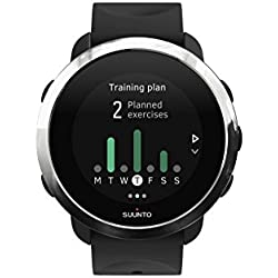 Suunto SS050018000 3 Fitness - Reloj Multisport con pulsómetro incorporado y la función de conectividad GPS de la aplicación Suunto, Unisex, Adulto, Negro/Plateado, Talla Única