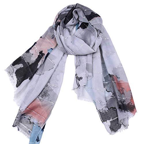 CFHJN Home Schal großes Format Satin Gouache Druck Elegante Quaste Pump Schal Vier Jahreszeiten Multifunktions Winter Kühlung Maßnahmen Sonnencreme für Frauen (Color : Gray)
