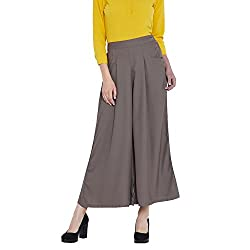 Ruhaans Womens Grey Color Solid Plain Crepe Palazzo (RU_5400_L)