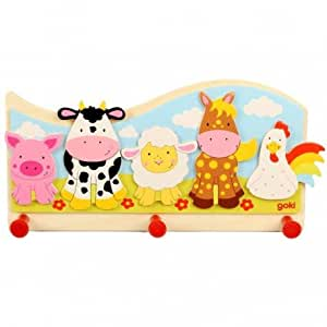 Goki - Portemanteau mural animaux de la ferme