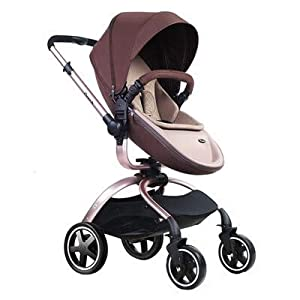 Baby Stroller, Foldable Lightweight EU Baby Doll Stroller, Leather Baby Trend Jogging Stroller for Baby Infant Newborn Baby (Color : Coffee)   2
