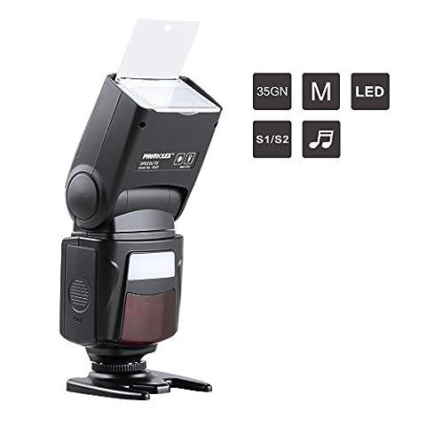 PHOTOOLEX M500 Blitz Flash Speedlite für Canon Nikon Sony Panasonic Olympus Pentax Fujifilm Sigma Minolta Leica und Andere SLR Digital SLR Film SLR Kameras und Digital Kameras mit Single-Kontakt Hot-Schuh
