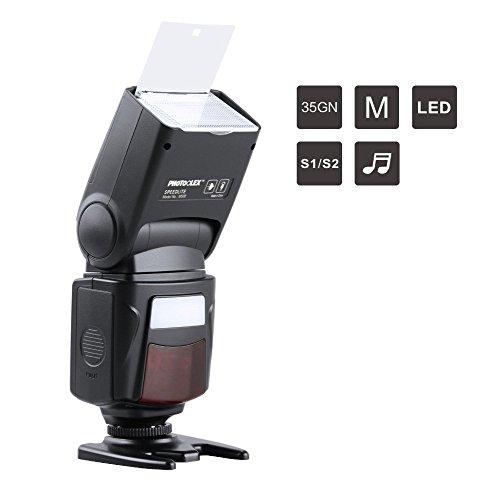 PHOTOOLEX M500 Flash Speedlite pour Canon Nikon Sony Panasonic Olympus Fujifilm Pentax Sigma Minolta Leica et d'autres SLR DSLR Caméras SLR Film et Appareil Photo Numérique avec Seul Contact Sabot