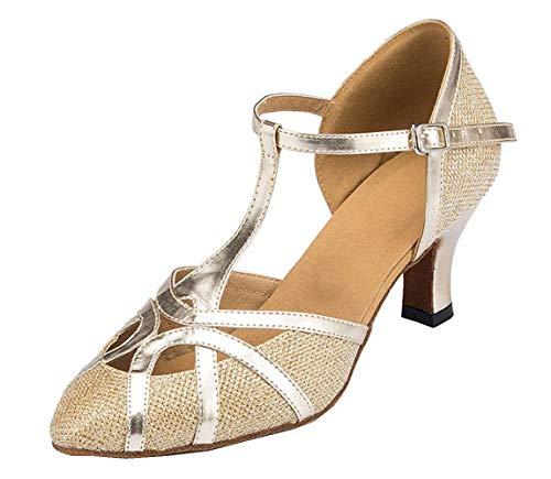 Fashion Damen T-Starp geschlossener Zehenbereich Glitzer Synthetik Abend/Hochzeit Tango Ballroom Modern Latein Tanzschuhe, Gold-6cm Heel - Größe: 41 EU
