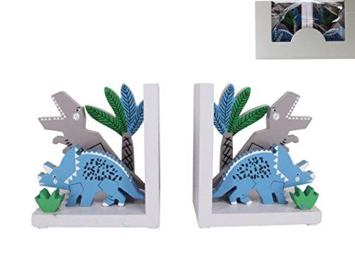 Dinosaurier Buchstütze (105899700–ChiChi Geschenke Gisela Graham Dinosaurier handbemalte Holz Buchstützen Paar–T-Rex, Triceratops)