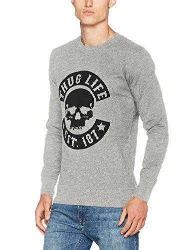 Thug Life Herren Skull Crewneck Pullover, Grey, L
