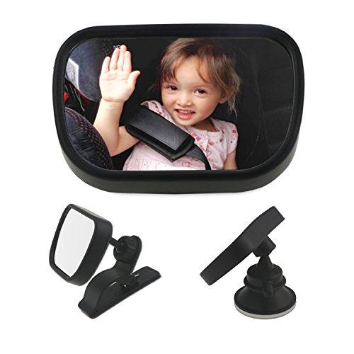 Spiegel Auto Baby, WisFox Baby Rückspiegel Rücksitzspiegel Baby Spiegel Autospiegel Baby Car Rückspiegel drehbar Bruchsicherer Auto Baby Car Mirror Shatterproof für Babyschalen, schwarz (Klein)