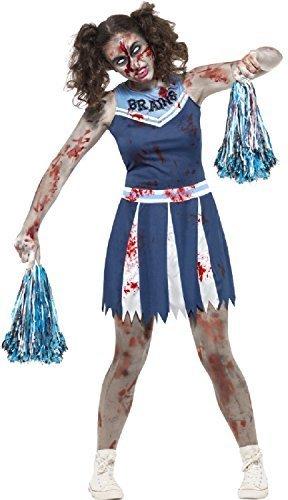 re Mädchen Toter Zombie blutig American Blau Cheerleader Halloween Kostüm 12-16 Jahre - 14-16 Years ()