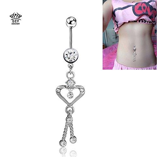 Brolux(TM) neue Kette Herz Bauchn Ringe / f¨¹r Frauen sexy Navel Ring Piercing / ombligo K?rperschmuck Pircing (Sexy Navel Ringe)