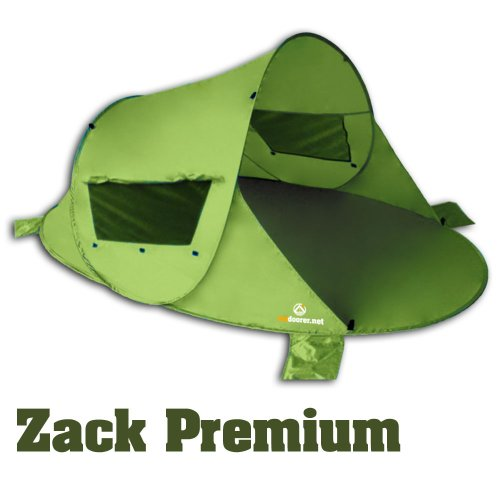 outdoorer Pop up Strandmuschel Zack Premium, UV 80, grün, inkl. Sandheringe & 3 Fenster u. verstärktem Boden