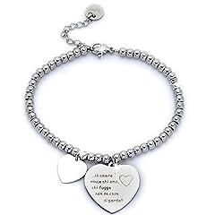 Idea Regalo - Beloved ❤️ Braccialetto da donna, bracciale in acciaio emozionale - frasi, pensieri, parole con charms - ciondolo pendente - misura regolabile - incisione - argento M5