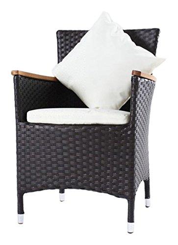 OUTFLEXX 2er-Set Sessel aus hochwertigem Poly-Rattan in braun und Teak, ca. 60 x 60,5 x 86,5 cm, inkl. Kissen/Polster, Gartenstuhl in modernem Design, zeitlos, vielseitig kombinierbar, wetterfest