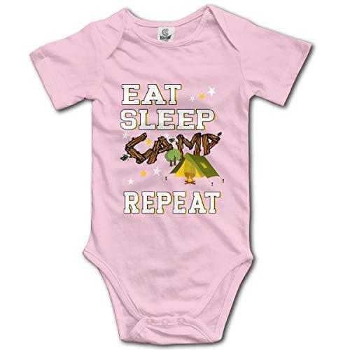 Abigails Home Eat Sleep Camp Repeat-2 Neugeborene Mädchen Babyspielanzug Kurzarm Säuglingskleinkindoverall(6M,Pink) Cotton Striped Sleeper