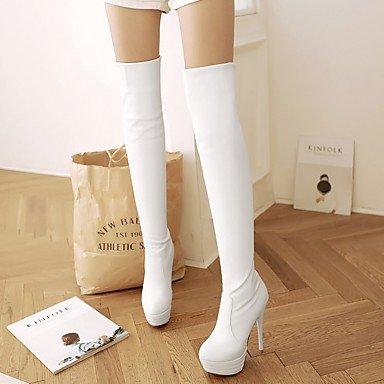 RTRY Damenschuhe PU-Kunstleder Herbst Winter Komfort Neuheit Mode Stiefel Stiletto Heel Runder Über die Stiefel für Party & Amp; Weiß US2.5/EU 32/UK1/CN 31.