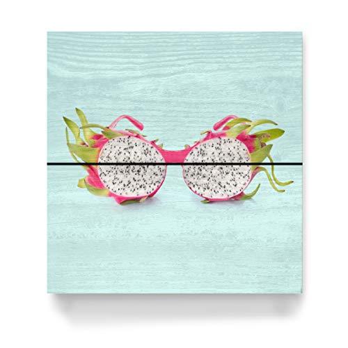 artboxONE Holzbild 20x20 cm Fashion Dragon Sunglasses von Künstler Paul Fuentes Design