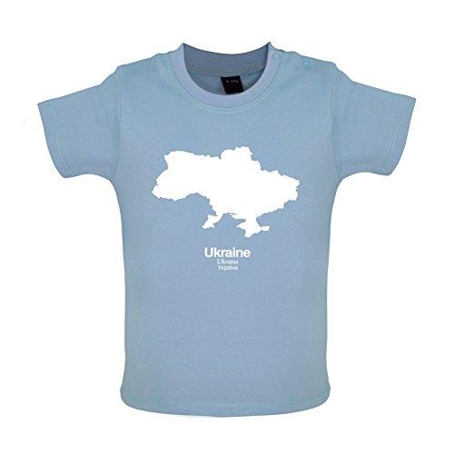 Ukraine Silhouette - Baby T-Shirt - Taubenblau - 6 bis 12 Monate (Fußball-silhouette)