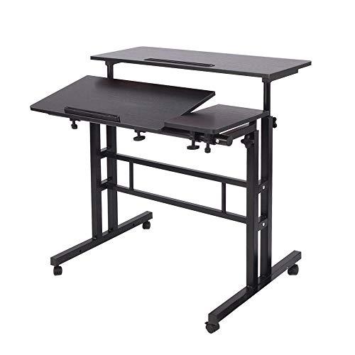 DlandHome Sit-Stand Tischwagen Mobile Höhenverstellbare Sitzfläche zum Stehpult Stehtisch...