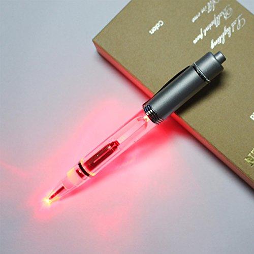 Preisvergleich Produktbild 2PCS PACK Kugelschreiber Kugelschreiber 2 in 1 LED leuchten Stift mit Velvet Taschen in einem Geschenk-Box-writting und lesen in der Dunkelheit Nacht (Rotlicht)
