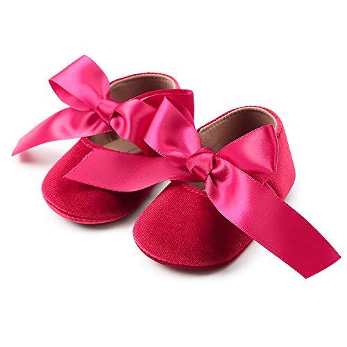 Zapatos de bebé, niña Princesa Terciopelo Bowknot niño Primer Caminantes Zapato 0-18 Meses 6-12...