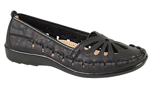 WOMENS FAUX LEATHER CASUAL COMFORT LOAFERS CUT OUT FLEXI SOLE FLAT SHOES SANDALS LADIES BLACK SIZE 4