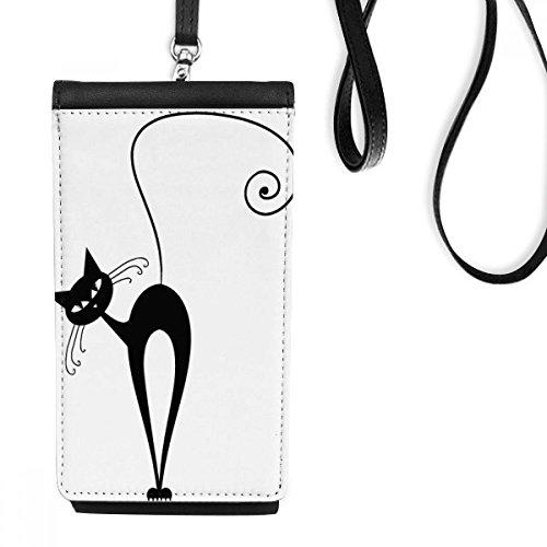 Schwarze Katze Halloween-Tier-Kunst Silhouette Kunstleder Smartphone hängende Handtasche Schwarze Phone Wallet Geschenk ()