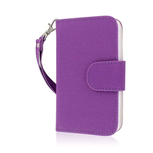 MPERO Flex FLIP Wallet Case Tasche Hülle for Alcatel ONETOUCH Evolve 5020T- Purple/Weiß