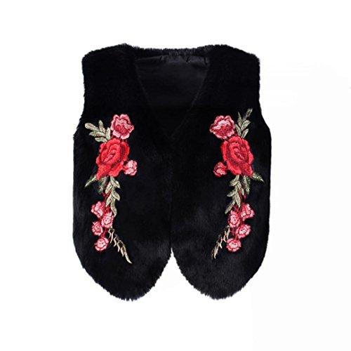 Vovotrade Veste de Broderie Hiver Femmes Manteau de Survêtement Sans Manche Gilet Veste Noir