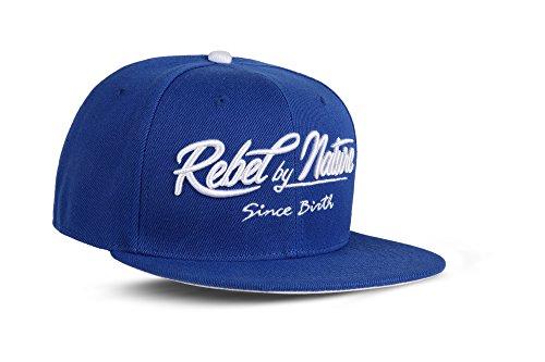 RebelByNature RC2 - Snapback Cap Font Mütze Unisex Kappe Hat Sport Baseball 100% Acryl - Collection No1-6Panel ORIGINAL RebelTM - Ice-Blue (Blaue Hip-hop-mütze)