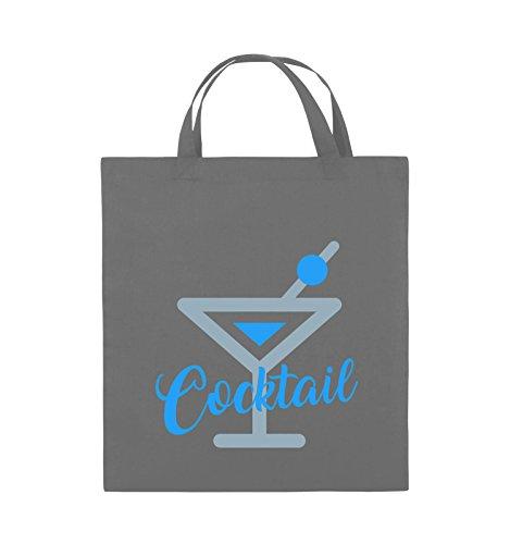 Borse Da Commedia - Cocktail - Bicchiere - Borsa In Juta - Manici Corti - 38x42cm - Colore: Nero / Bianco-neon Verde Grigio Scuro / Blu Ghiaccio-blu