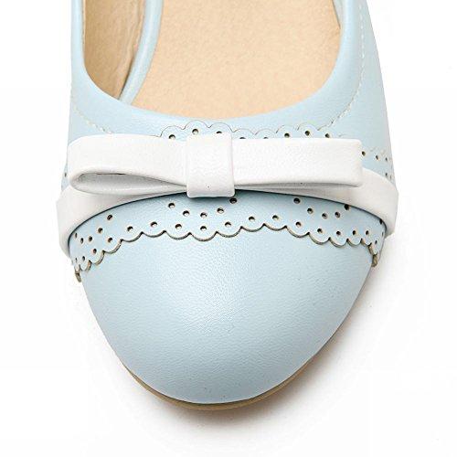 Mee Shoes Damen modern süß bequem dicker Absatz mit Spitze Schleife Geschlossen runder toe Pumps Blau