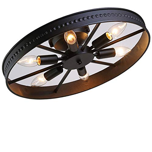 Retro Rad Deckenleuchte Vintage Runde Deckenlampe Antik Industry Ring Design Kreative Decorative Deckenstrahler Eisen Lampeschirm Deckenbeleuchtung für Wohnzimmer Bar Cafe 6*E14 Ø46cm, Schwarz -
