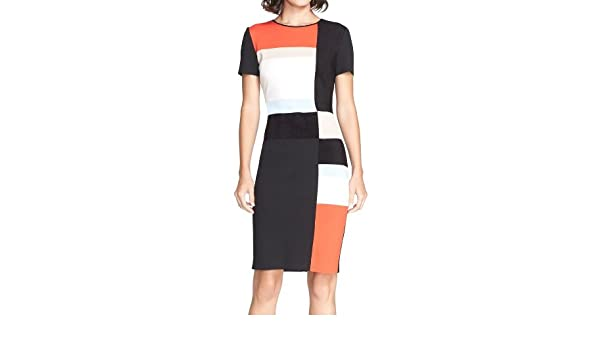 b04db553cb5a St. John Collection Women s Colorblock Milano Knit Sheath Dress - Black -   Amazon.co.uk  Clothing