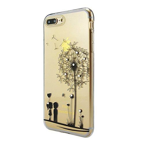 iPhone 8 Hülle, Fraelc iPhone 7 Bling Diamant Glänzende Schutzhülle Weiche Flexible TPU Silikon Bumper Handyhülle für Apple iPhone 7 / 8 Gummihülle mit Rot Blatt Design Backcover # 8