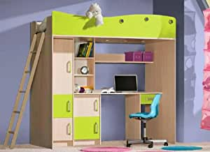hochbett kinderbett kombi schreibtisch schrank eiche milchig gr n k che haushalt. Black Bedroom Furniture Sets. Home Design Ideas