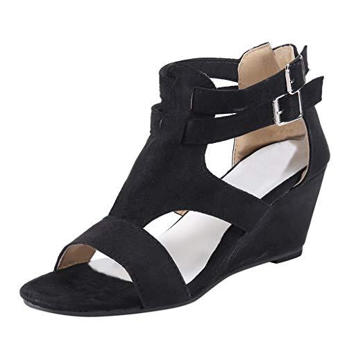 JiaMeng Damen Sandalen Sommer Wedges Retro Casual Schuhe Strap Gladiator Römischen Sandalen TXNY5.
