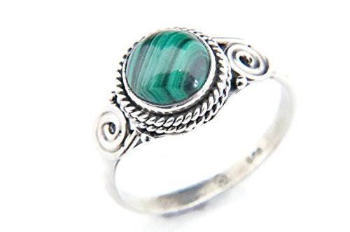 Ring Silber 925 Sterlingsilber Malachit grün Stein (MRI 21), Ringgröße:54 mm/Ø 17.2 mm (Antik Trachten Schmuck Ringe)
