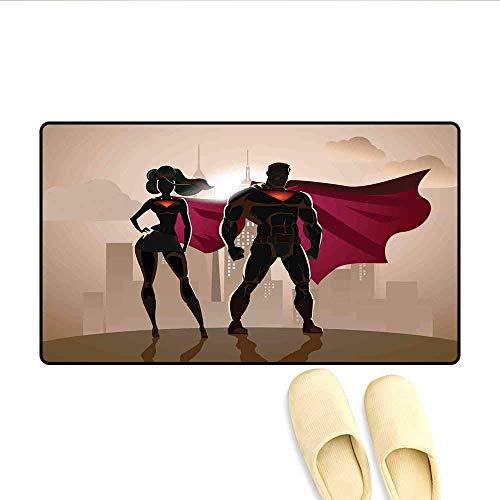 LIS HOME Badematte Super-Helden von Frau und Mann in der Stadt beim Lösen von Verbrechen Heiße Paare im Kostüm-Fußmattenmuster Beige-Braun-Magenta (Heiße Paare Kostüm)