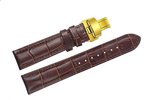 18mm braun Luxus Ersatz Lederarmbändern / Bands handgefertigt mit Verschluss Gold Einsatz für Schweizer Luxusuhren